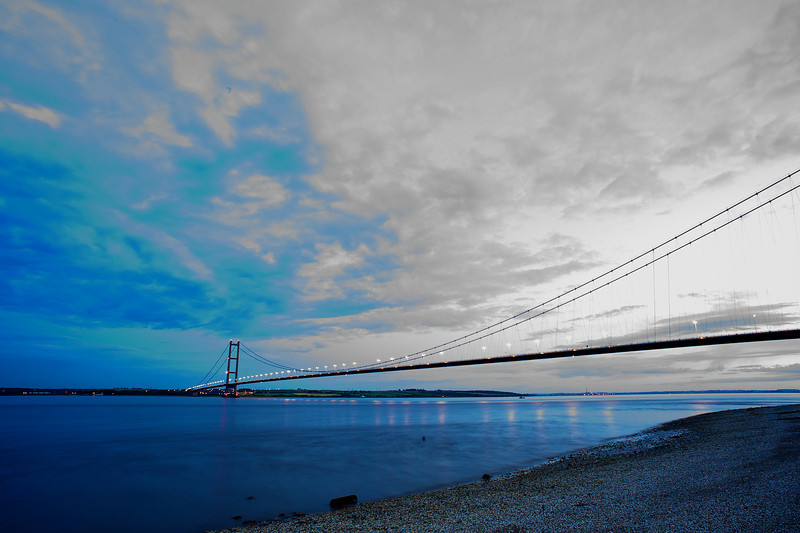 The Humber Bridge in HDR in the evening in summer