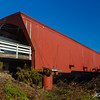 The Holliwell covered bridge on a clear fall afternoon