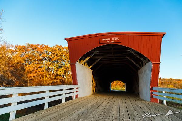 Fall twilight falls over the Hogback covered bridge