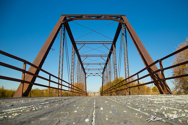 The abandoned and flood damaged Valleyview Trail truss bridge over the Middle River