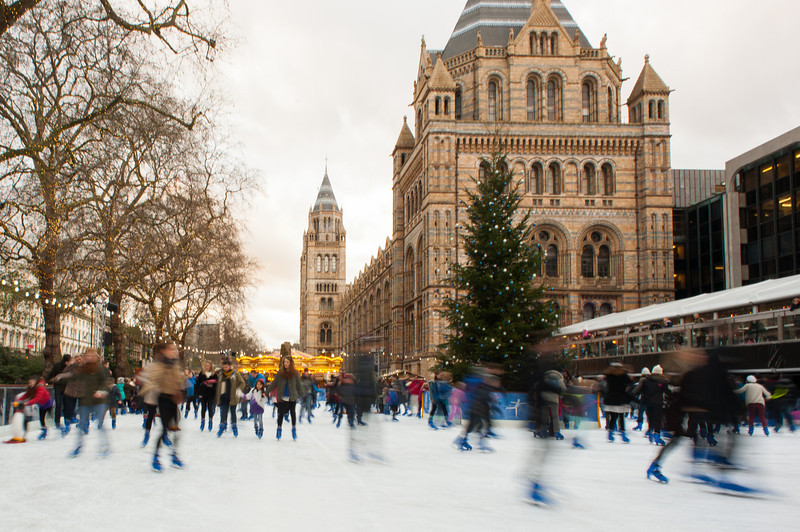 Ice skating at the Natural History Museum in London