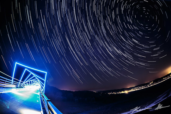 Star trails from the High Trestle Bridge over the Des Moines River