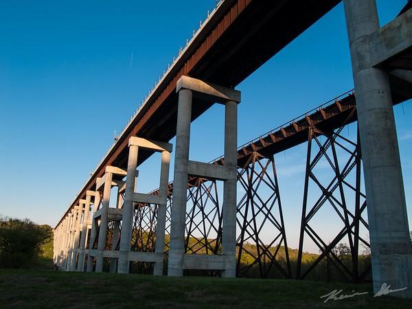 The Kate Shelley railroad bridges at sunset