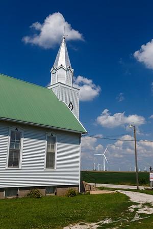 A rural Iowa church bathed in the summer sun