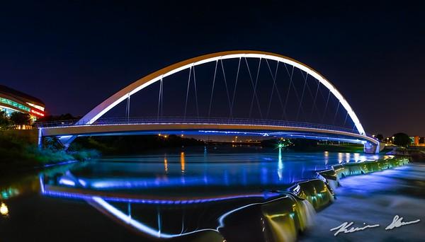 Center Street Bridge on a calm summer night