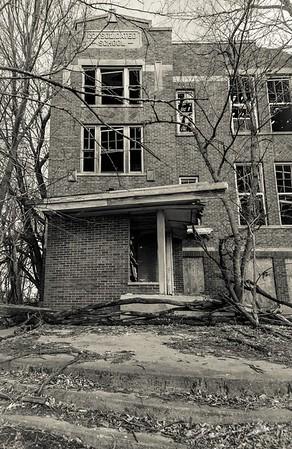 Abandoned schoolhouse slowly crumbling away