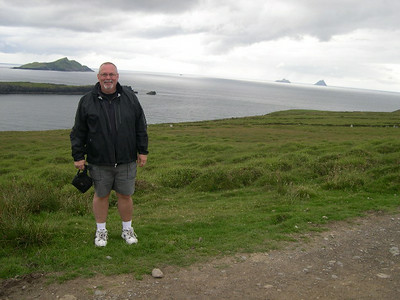 Ed -- hiking up to Bray Head on Valencia Island with Skellig Michael in the background.