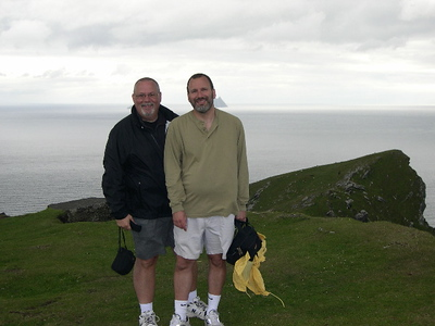 Ed and Joe - at the top of Bray Head on Valencia Island with Skellig Michael in the background.