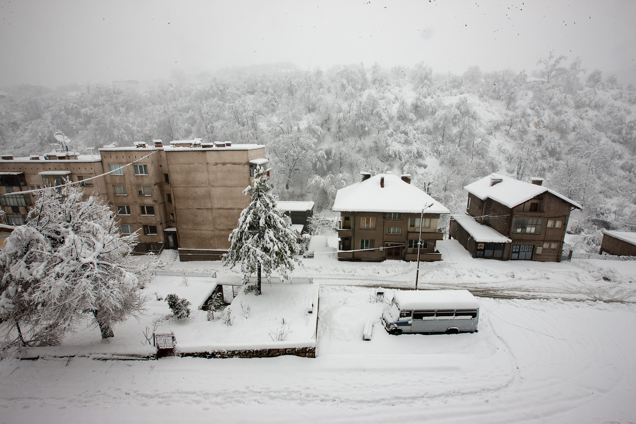 The view off my balcony. This means the day is going to be cold...