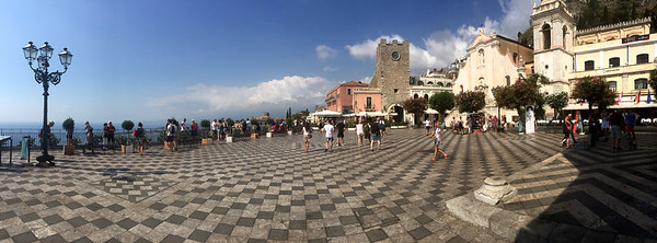 Piazza Duomo in the town of Taormina, Sicily.