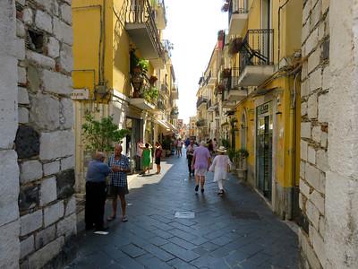Corso Umberto, the main route through the center of Taormina.