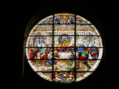 Stained glass in the Siena Duomo.