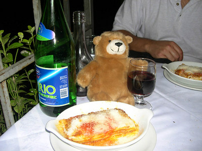 Little Orsino. We carried Orsino with us as a part of a Travel-Bear project for our friend Callie's 4th grade class back home in Dallas, Texas. Here's Orsino enjoying some lasagna and a glass of red wine on our first night in Italy.