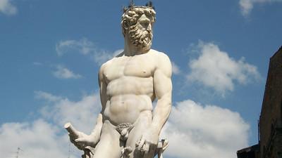 A massive statue of Neptune in Ammannati's Fontana di Nettuno (1575) in Piazza della Signoria in Florence.