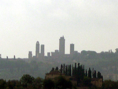 The distinct skyline of San Gimignano in Toscana. Where there were once 76 tall towers dating from the 13th century, only 14 survive today.