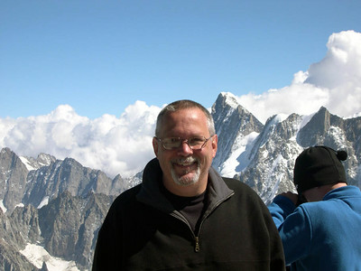 Ed at Augilles du Midi (France) near the summit of Mont Blanc.