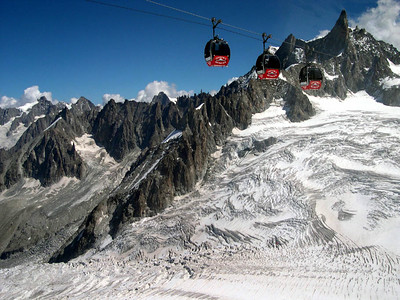 Here are the cable cars that run 6K (3.5 miles) between Punta Helbronner and Aiguille du Midi at nearly 13,000 feet.