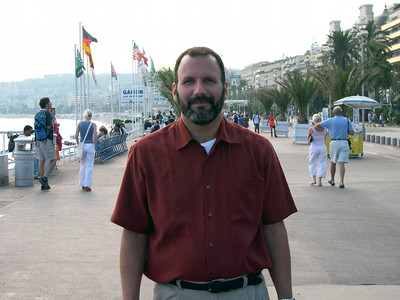 Joe on the boardwalk (French Riviera) in Nice, France.