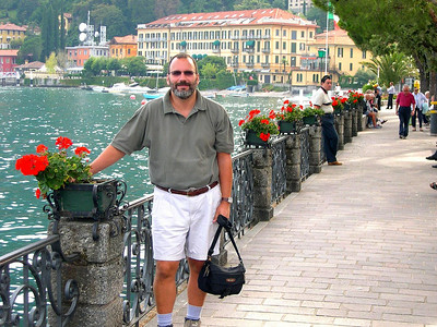 Joe on the promenade in Menaggio (with our hotel in the background)