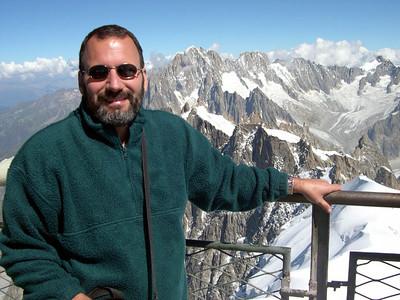 Joe at Augilles du Midi (France) near the summit of Mont Blanc.
