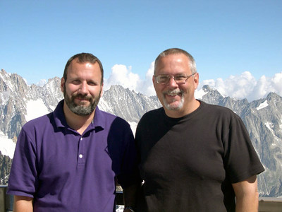 Joe (left) and Ed (right) near the summit of Mont Blanc in the Italian Alps.