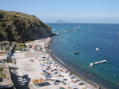 La Spiaggia Bianca (the white beach) where we spent many of our days while on Lipari! Like all good beaches in Italy, it was accessible only by boat or by walking down -- and back up -- what seemed like 1,000 stairs. That's Isola Panarea and Isola Stomboli in the background.