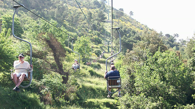 In Anacapri, you can take a ski lift ride to the top of Monte Solano (that's Joe in front of me).