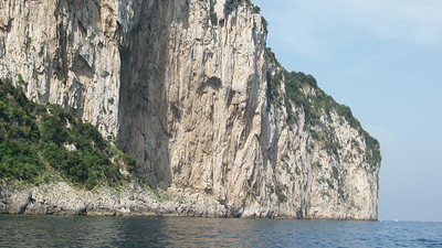 Dramatic scenery and high cliffs that competely surround the island of Capri.