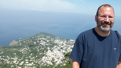 Joe with the town of Anacapri in the background.