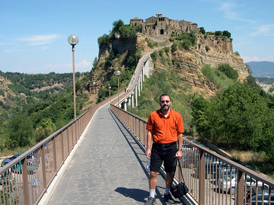 Civita Bagnoreggio is a small town in the Tuscan hills south of Firenze. The only access to the town is via this bridge built in the early part of the 20th century.