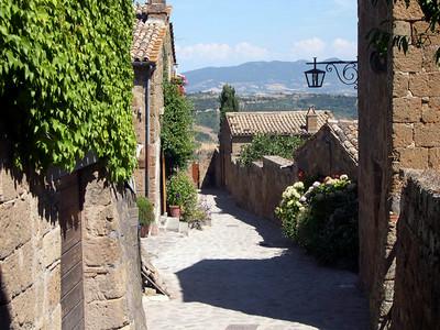 In the town of Civita Bagnoreggio.
