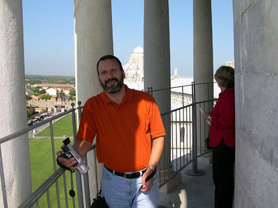 Joe on the 7th level of the Torre Pendente (The Leaning Tower) in Pisa.