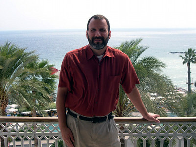 Joe on our hotel balcony (Royal Hotel) in San Remo, Italy. San Remo is a small resort town on the Mediterranean Sea, about 20 kilometres from the French border.