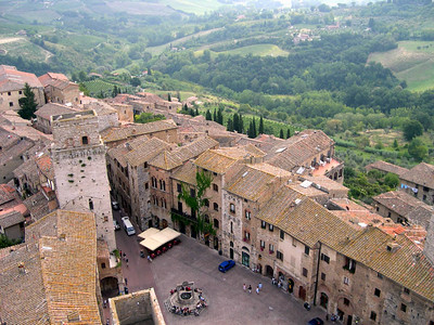 Looking down on Piazza della Cisterna from the top of the tallest tower in San Gimignano.