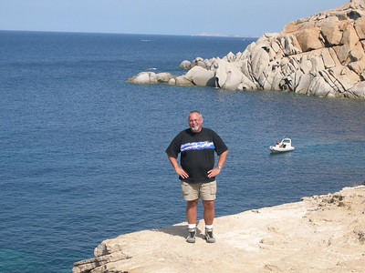 Ed on one of the rocky ledges of Capo Testa.