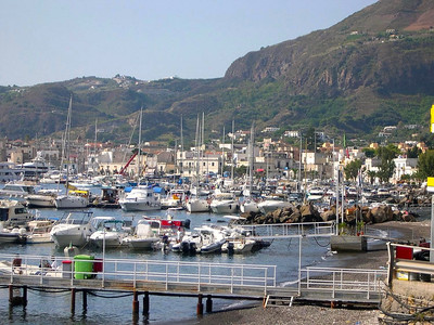 The main harbor in Lipari - a mix of fishing boats, sail boats, yachts and passenger ferries.