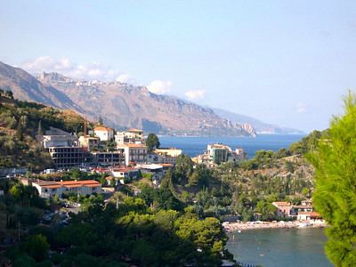 After we left Lipari and returned to Silicia, we drove around to the west side of the island and the town of Taormina. That's the town of Taormina, at the top of that mountain overlooking the Mediterranean Sea. The town itself dates back to the 5th Century BC.