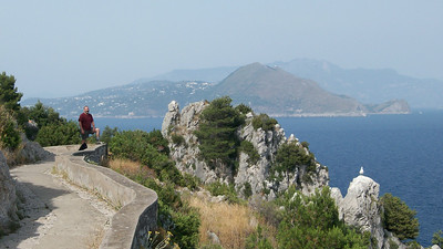 Joe, taking a break while hiking -- that's Sorrento and mainland Italy in the background.