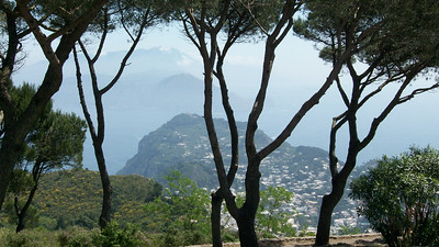 From the top of Monte Solano, looking out over Capri and further out, Sorrento and the Amalfi Coast.