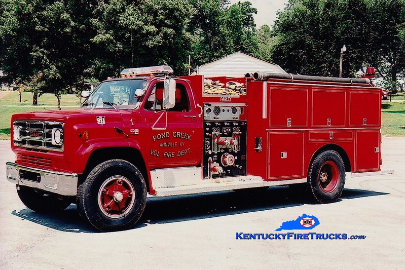 <center> RETIRED <br> Pond Creek  Engine 1  <br> 1988 GMC/Darley 1000/750  <br> Greg Stapleton photo </center>