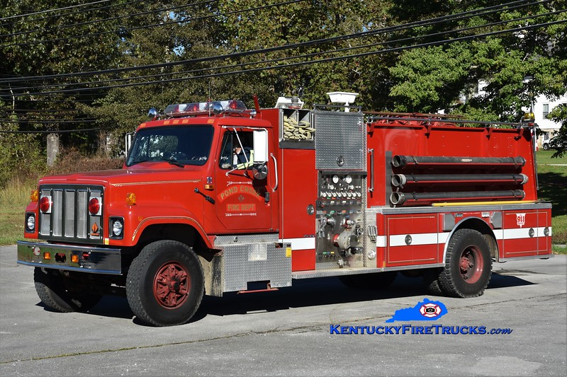 Pond Creek  Engine 1<br /> x-Renssellaerville, NY<br /> 1991 International 2574/Marion 1000/1200<br /> Greg Stapleton photo