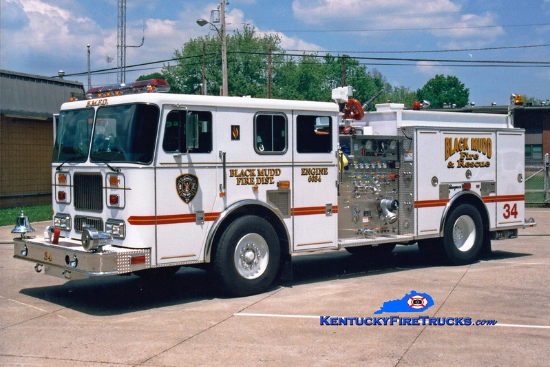 <center> Presently with Camp Taylor, KY <br> Black Mudd Engine 6034 <br> 1998 Seagrave Marauder 1500/750 <br> Greg Stapleton photo </center>
