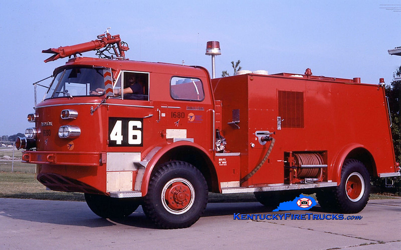RETIRED<br /> Louisville Regional Airport Authority  - Bowman Field Rescue 46<br /> x-Rescue 44 ( at Standiford Field)<br /> 1964 American LaFrance 900 750/725/150F<br /> Kent Parrish collection