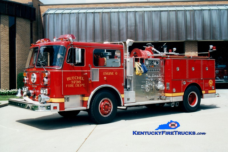 <center> RETIRED <br> ORIGINAL <br> Buechel  Engine 3736 <br> 1985 Seagrave 1500/500 <br> Greg Stapleton photo <center>