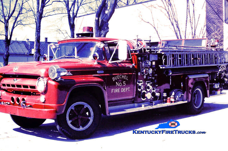 RETIRED<br /> Buechel Engine 5<br /> 1957 Ford F-750/Oren 750/500<br /> Kent Parrish collection