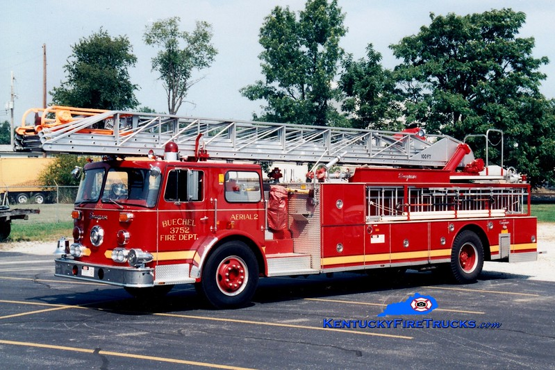 <center> RETIRED <br> Buechel  Truck 3752 <br> x-New York City <br> 1971 Seagrave/1983 Summit 100' <br> Greg Stapleton photo <center>