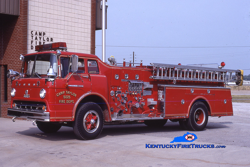 RETIRED<br /> Camp Taylor Engine 5025<br /> 1961 Ford C-850/Howe 750/500<br /> Kent Parrish collection