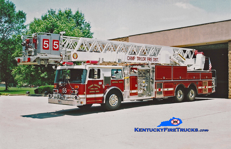 <center> RETIRED <BR> Camp Taylor Truck 5055 <br> x-Ventura, CA <br> 1986 Duplex D-450T/Grumman 1500/250/102' <br> Kent Parrish photo </center>