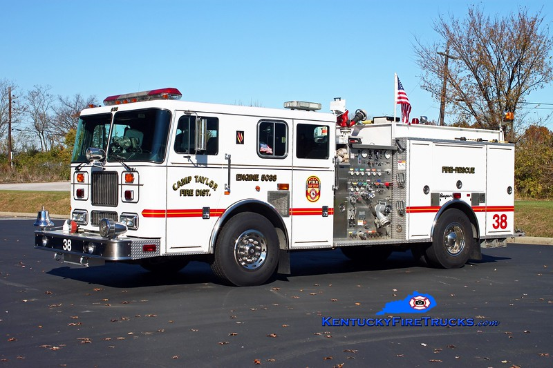 <center> RETIRED <br> Camp Taylor  Engine 5038 <br> x-Black Mudd &amp; Okolona, KY <br> 1998 Seagrave Marauder 1500/750 <br> Kent Parrish photo </center>