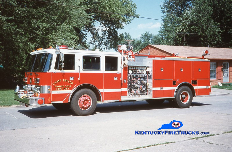RETIRED<br /> Camp Taylor Engine 5039<br /> 1989 Pierce Arrow/1978 Grumman-Oren 1250/750<br /> Kent Parrish collection